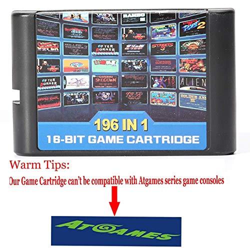 Dodoing pour Sega Mega Drive MD Genesis 196en 1Multi cartouche de jeu rétro classique Cadeau 10.8 * 6.8cm 196 in 1 Game Card