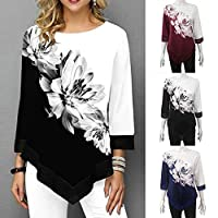 Explopur Flowers,Fashion Women Floral Printed Blouse Plus Size 3/4 Sleeves Irregular Hemline O Neck Spring T-shirts Tees Casual Tops