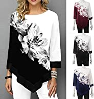 Explopur Flowers,Fashion Women Floral Printed Blouse Plus Size 3/4 Sleeves Irregular Hemline O Neck Spring T-s