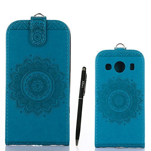 Samsung Galaxy Ace 4 Hülle Leder Tasche Flip Cover Samsung Galaxy Ace 4 Wallet Case Alfort Stilvoll Handycover Grün Mandala Blumen Muster PU Ledercase Brieftasche Handyhülle für Samsung Galaxy Ace 4 S Blau