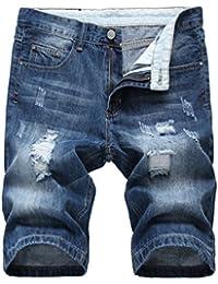 Yiiquan Verano Hombres Delgado Deportes Pantalones Retro Vintage Jeans Pantalon Corto Slim Fit wol1AObR