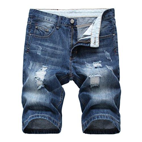 Yiiquan elasticizzati da uomo strappati jeans spiaggia pantaloni corti pantaloncini distrutto patchato stile (blu, asia 36)