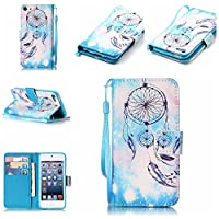 iPod Touch 5/6th Case [Free Tempered Glass Screen Protector],Mo-Beauty® PU Leather Wallet Case With Hand Wrist Strap,Full Body Colorful Pattern Design Flip PU Leather Wallet Card Slot Stand Case Cover For iPod Touch 5th/6th Generation (Wind chimes #1)