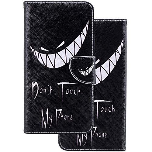 LEMORRY Sony Xperia XZ1 / F8342 Etui Gaufré Cuir Flip Portefeuille Pochette Mince Bumper Protecteur Magnétique Fente Carte Silicone TPU Housse Cover Coque pour Sony Xperia XZ1, Sourire