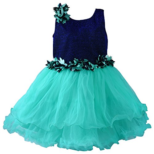 Wish Karo Baby Girls Tiffany Blue Color Net Partywear Frock Dress - (bx10062-3 Yrs)