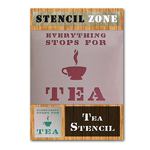 Alles stoppt für Tee Vintages Shabby Chic-Mylar Malerei Wall Art Schablone (A4 Größe Stencil - Small) -