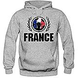 Shirt Happenz Frankreich WM 2018#2 Hoodie Fußball Herren France Les Bleus Nationalmannschaft, Farbe:Graumeliert (Greymelange F421);Größe:XL