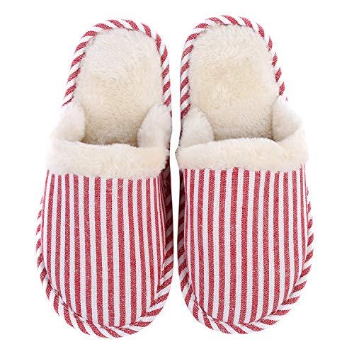 TININNA Unisexe Ultra Léger Sandales d'hiver,Pantoufles Chaussons en Coton Mousse à mémoire Chaud Hiver Intrarieur Anti-Derapant Shoes Chaussures House Slipper pour Femmes Hommes Rose M