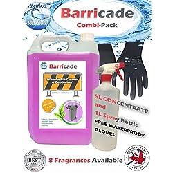 Barricade combi-pack 5L basura limpiador, 1l botella de Spray y libre guantes. Deodoriser LAVENDER