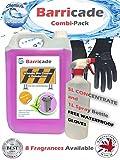 Barricade combi-pack 5L detergente per bidoni, contenitore da l e guanti in omaggio. Deodorante, buccia di limone