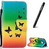 Slynmax - Funda de piel con tapa para HTC One M9 (incluye lápiz capacitivo), color negro, Rainbow Butterfly