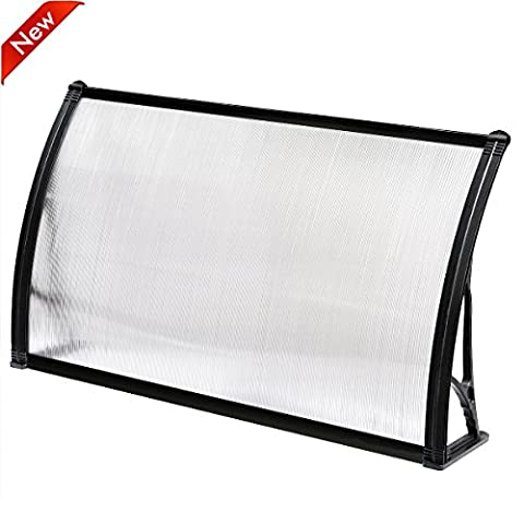 Popamazing Top Quality Single/Double/Triple Polycarbonate Front Back Door Window Awning Patio Cover Canopy (Black, Single(120 x 75 x 23cm/47.2 x 29.5 x