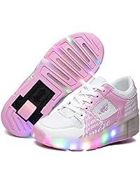 SGoodshoes Niñas Zapatillas con Ruedas LED Sola Ronda Para Skate Zapatos Deportivas con Luces Niños Zapatos con Ruedas Led Mujer