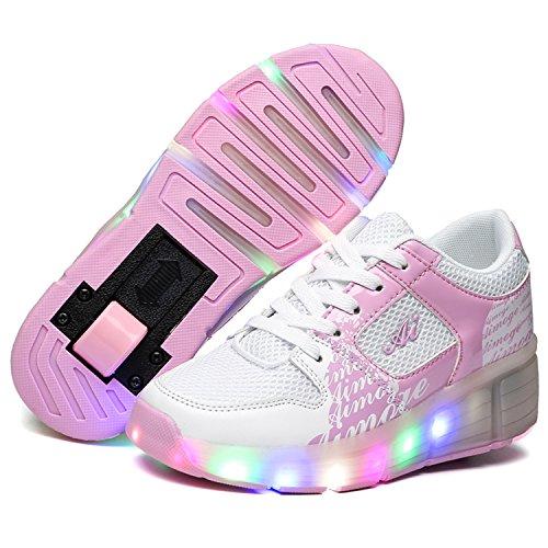 SGoodshoes Unisex Adults Kids LED Light Wheels Shoes Child Single Boy And Girl Roller Skates Shoes Adjustable Rollerblades Inline Skates Trainer