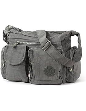 Bag Street Schultertasche Modische Umhängetasche Crossover Nylon grau OTJ205K