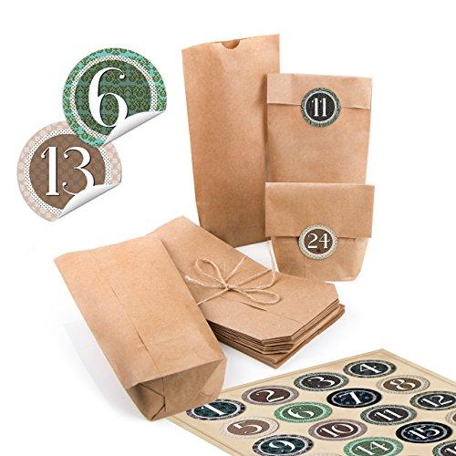 iertüten natur Kraftpapier 10,7 x 22 x 4,2 cm + 1 bis 24 Nummern Zahlen rund vintage natürlich Aufkleber Adventskalender Kalender basteln befüllen Mini-Tüten ()