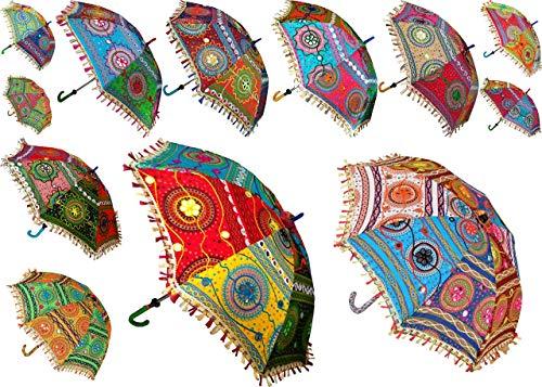 Worldoftextile 5Stück Baumwolle Sun Sonnenschirme Vintage Damen Regenschirm Regenschirm Modell A3102, Indian Handgefertigt Designer Hochzeit Deko # 2