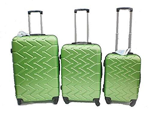 Orlac Tyre Set 3 Trolley valigie rigide in ABS e policarbonato 4 ruote piroettanti colori vari (Verde)