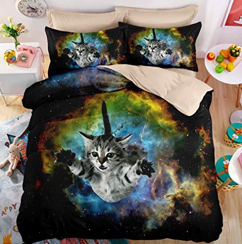 FAITOVE Galaxy Cat Mikrofaser weich 3-teiliges Bettwäsche Quilt Sets 2Kissen Full Queen King Size, Polyester-Mischgewebe, a, Queen(90