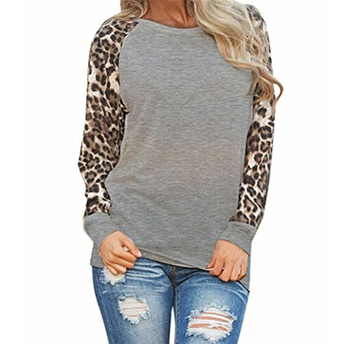 MRULIC Damen Leopard Bluse Langarm Mode Frühling Neu T-Shirt Oversize Tops (EU-36/CN-S, Grau)
