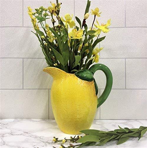 Tutti Decor Zitrone groß Keramik Krug Vase 21cm Geburtstag Geschenk Sommer Gelb (Große Keramik Vasen)