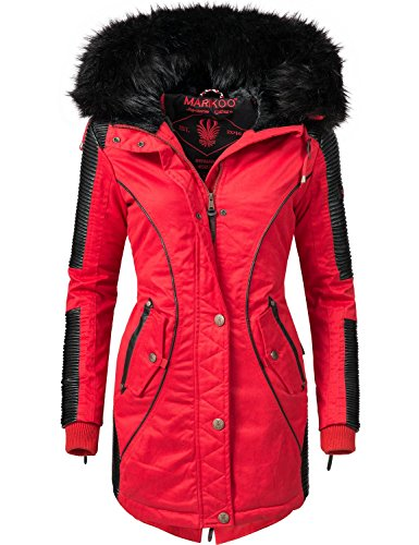 Marikoo Damen Mantel Wintermantel Winterparka Larissa (vegan hergestellt) Rot Gr. M (Faux-leder-jacke Rot)