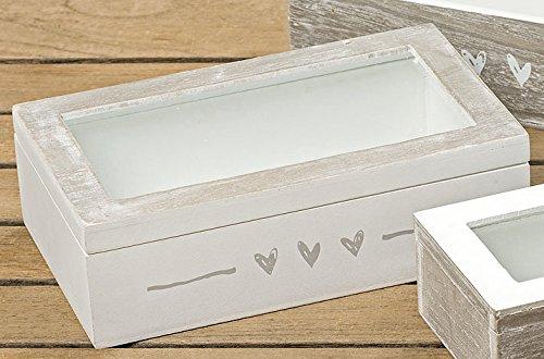 Holzbox Aufbewahrungsbox grau/weiß Herzen 20 x 6 x 12 cm