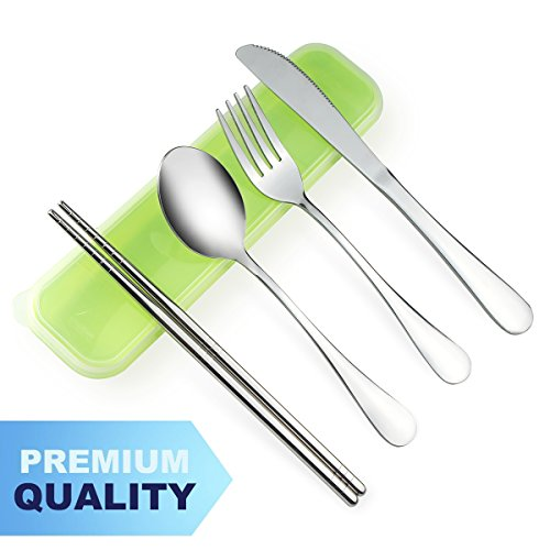 AckMond 4-Piece Stainless Steel Travel, Camping Cutlery Set (Green Case)