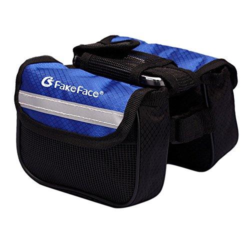FakeFace Neu Fahrradtasche Rahmentasche Oberrohrtasche Gepäckträgertasche Fahrradrahmen Wetterfeste Tasche Radtasche Satteltasche mit 3 Fächer für Radfahren Mountain Bike Blau