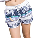 Uskincare Women's Quick Dry Board Shorts Printed Beach Swim Wear Surfing Holiday Casual Pants (XL Waist:66-73cm, 8-Coconut Tree A)