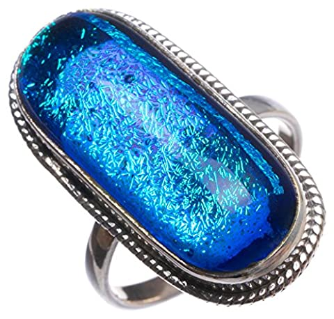 StarGems(tm) Natural Fancy Dichroic Glass Handmade Mexican 925 Sterling Silver Ring, UK size P