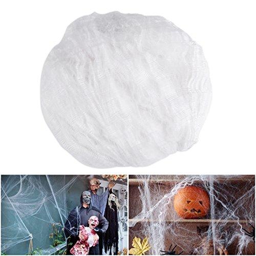 TOYMYTOY Halloween Deko Spinnennetz Weiße Spinnengewebe Leucht Cobweb, 300g