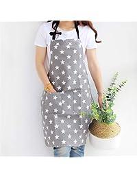 Delantal con bolsillo lindong estrellas algodón Lino Mujer Delantal Cocinar o hornear delantal gris