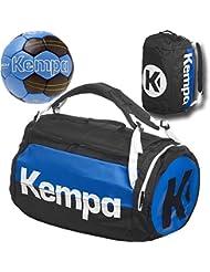 Kempa–Bolsa de deporte con función de mochila Incluye Red de fútbol y balonmano Negro/Azul 58x 32x 32cm, 60L, negro/azul