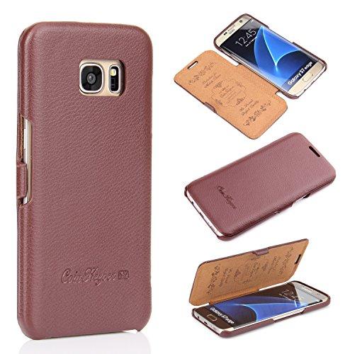Handgefertigte Leder (Handyhülle für Samsung Galaxy S7 EDGE - ***ECHT LEDER - HANDGEFERTIGT*** - Hülle Case Etui Flip Case Schutzhülle - BRAUN - CoinKeeper)