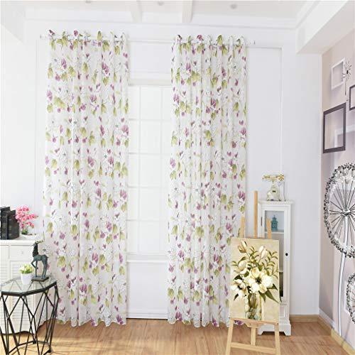 Passen Perfekt Zu Sheer (Zerama Ink Lotus Printed Vorhang Durchlässiger Blumen-Fenster drapierte Blumen Semi Sheer Kind-Mädchen-Schlafzimmer Vorhänge 100 * 200)