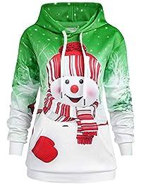 e6c3a1dabc JIANGfu Fashion Women Autumn Winter Christmas Cartoon Snowman Print  Kangaroo Pocket Hooded Sweatshirt Ladies Casual…
