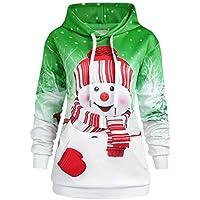 HWTOP Damen Hoodie Sweatshirt Weihnachten Känguru Pocket Cartoon Schneemann Print Pullover Mit Kapuze Bluse Top