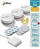 Rauchmelder 3ER Set - Funk Vernetzbar + DUAL Version + WLAN Gateway + Magnethalterung + Lithium 10 Jahres Batterie von iHaus Smart Home (VdS - DIN EN 14604)