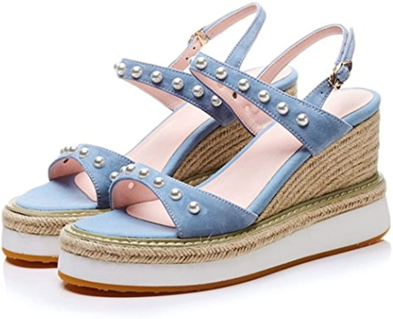 GAOLIXIA Damen Damen Leder Sandalen Sommer Strass Keile Schuhe mit Hohen Absätzen Muffins mit High Heels Strohö