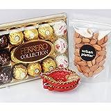 Urban Platter Christmas Nut & Chocolate Hamper-Ferrero Collection T-15 + California Almonds 100g + Stuffed Toy