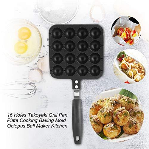 Takoyaki Pfanne,Takoyaki Pfanne mit Griff Backblech Takoyaki Maker Takoyaki Grillpfanne Backblech Octopus Ball Plate Hausmannskost Backen Werkzeuge Küchenzubehör,16 Löcher