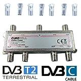Eurosell Breitband Kabel Verteiler 6-fach TV Weiche für DVB-T und Kabelfernsehen SAT DVBS DVBS2 DVBT DVBC Digital Full HD TV BK