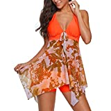 Junjie Frauen Plus Size Gradient Tankini Badeanzug Beachwear Gepolsterte Short elegant Basic große größe Badebekleidung Schwarz, Himmelblau, Blau, Orange, Lila
