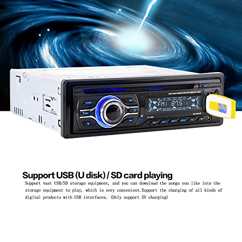 Mit Auto Aux Stereo-cd-player (KKmoon Universal Auto DVD MP3 Player Stereo Radio CD-Player mit In-Dash-FM Aux Eingang SD/USB-Port¡­)