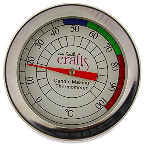 Candle Making Thermometer - Colour Coded. The Best Tool for Candle Makers to make Melting your Soy & Paraffin Wax Simple - Hard Wearing Stainless Steel with Manual Easy to Read Gauge by Our Family Crafts