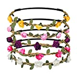 Shintop 10 Stück Haarreif mit Rosen, Süße Gestecke aus Blumen für Hochzeiten, Feste, Foto-Shoots (Bunt)