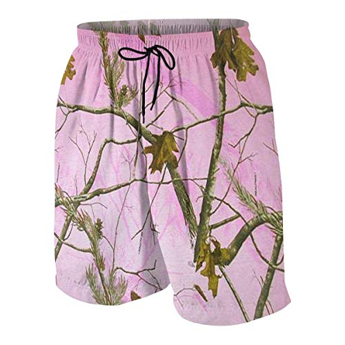 vcbndfcjnd Pink Realtree Camo Boys Beach Shorts Quick Dry Beach Swim Trunks Kids Swimsuit Beach Shorts,Holiday Swim Trunks Pants L (Boy Camo Pink Shorts)