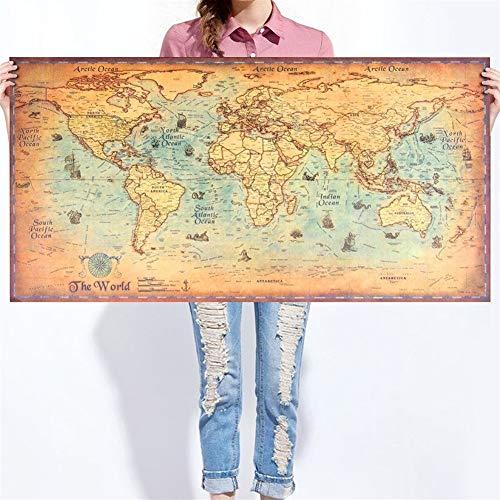 DYHM Mappa del mondo map world Mappa del mondo Vintage Wall Sticker Retro Poster Soggiorno Mestieri d'arte Mappe del Mondo Bar Cafe Bar Pittura