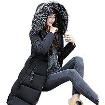 Abrigos Largo de Mujer Plumas, LILICAT Chaqueta Tallas grandes Caliente Gruesa de la Moda 2017 del Invierno,Sobretodo Slim Casual Sólido con Capucha (XL, Negro)
